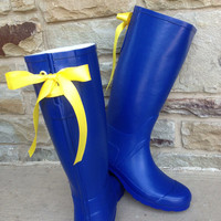 Tri Delt Blue Rain Boot with Yellow Bows by PuddlesNRainBows