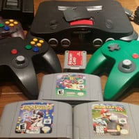 Nintendo 64 console 4 controllers,  n64 console, Nintendo 64 console bundle, Mario kart 64, Mario 64, Dr Mario, Nintendo 64 system,  n64 lot