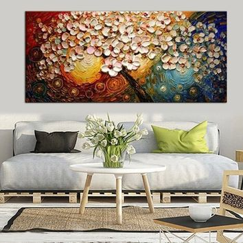 New Fashion Hand-painted Peacock Tree Canvas Abstract Oil Painting Print Wall Decor No Frame
