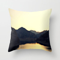 Pillow Cover, Golden Yellow Sunset Over Black Mountains, Throw Pillow, Autumn Woodland Nature Home Decor Interior Accents, 16x16 18x18 20x20