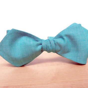 Men's Bow Tie by BartekDesign: self tie slim line diamond point bowtie wedding grooms azure sea blue celadon aquamarine teal