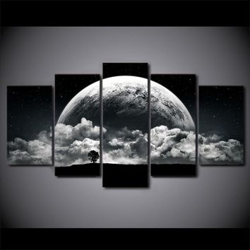 5 Pieces black white earth Wall Art Picture For Living Room