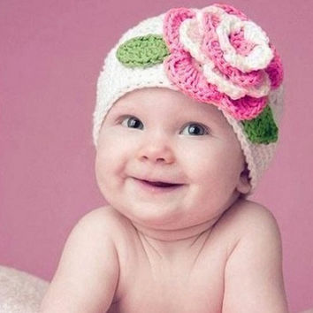 Cute Winter Warm  Baby Kid Infant Toddler Newborn Girl Pink Big Flower Beanie Crochet Knitted Hat Soft Cap Photography Props
