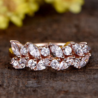 Custom Jewelry:Rose Gold Wedding Rings Anniversary Band Marquise and Round CZ stone Unique Flower Design Cubic Zircon
