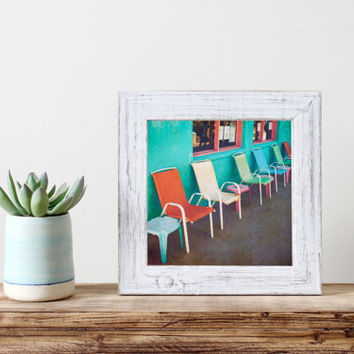 Vintage square print, row of chairs, fine art photography, colorful chairs, wall art, home decor, bright colors, street photography, summer