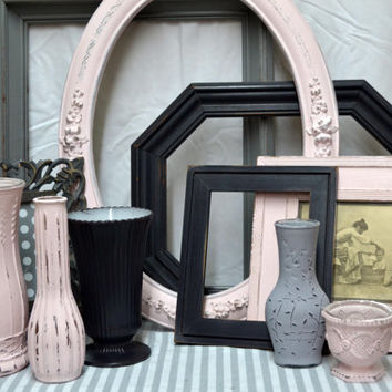 Set of 6 Upcycled Vases & Decor in Petal pink, Grey and Charcoal Chalk Painted to PERFECTION-Antiqued and Distressed- Wedding-Home Decor