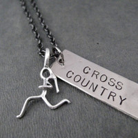 Cross Country Necklace with Sterling Silver Runner Girl Charm - Dog Tag Style XC Pendant with Sterling Silver Runner Girl on Gunmetal Chain