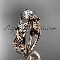 "14kt rose gold diamond floral wedding ring, engagement ring with a ""Forever One"" Moissanite center stone ADLR216"