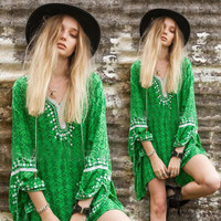 SIMPLE - Retro Tribal Ethnic Floral Lace Lace Floral Casual Boho Dress b2788