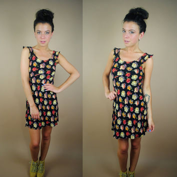 Vintage 1990s betsey johnson grunge floral sleeveless mini babydoll dress XS