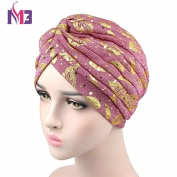 New Fashion Women Gold Print Turban Breathable Shiny Women's Twist Turban Headband Hijab Hat Headwear For Chemo Turbante