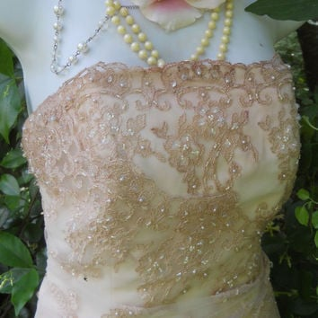 Beaded wedding dress nude blush pink ruffles by vintageopulence
