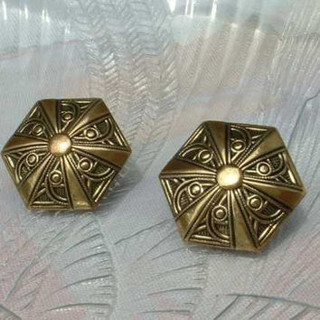 Hexagon Taille d'e'pargne Post Earrings Brass Vintage Jewelry
