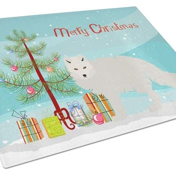 White Arctic Fox Christmas Glass Cutting Board Large BB9244LCB