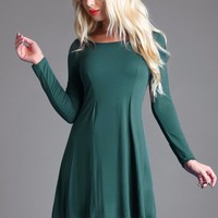 Perfect For  Fall Midnight Green Dress