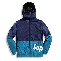 Supreme Autumn And Winter High Quality New Fashion Letter Print Women Men Keep Warm Hooded Long Sleeve Top Coat Blue
