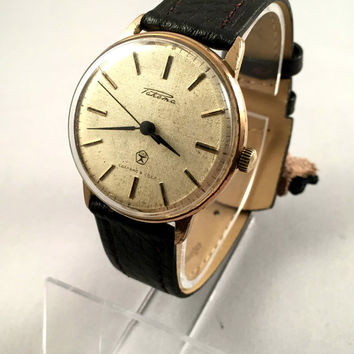 "Vintage Sleek Soviet men's watch ""Raketa"" (Rocket), mechanical watch, gorgeous gold tone dial, great gift idea for him."