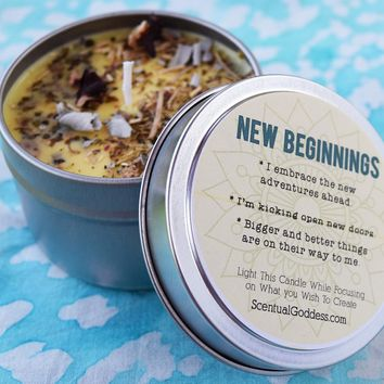 NEW BEGINNINGS Intention Candle - Start a New Chapter & Kick Open New Doors