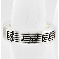 Antique Silver Tone Metal / Lead&nickel Compliant / Music Note / Stretch Ring