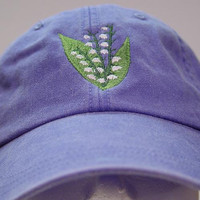 Lily of Valley May Flower of Month Hat - Embroidered Women Garden Cap - 24 Colors Available - Price Apparel Embroidery