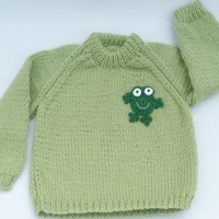 Light green knitted baby sweater 3 to 6 months