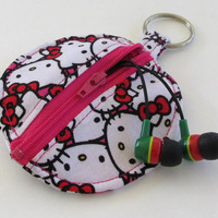 Hello Kitty Earbud Holder / Circle Zipper Pouch / Hot Pink Coin Purse / Keychain Bag / Magenta / Ear Bud Case Headphone Case