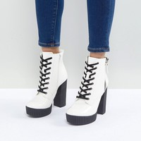 ALDO Geide Grunge Ankle Boot with Platform in White at asos.com