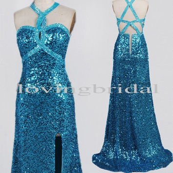 Long Ice Blue Sequined Prom Dresses Halter Party Dresses Cross Back Evening Dresses Slit Wedding Dresses