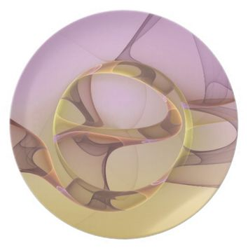 Abstract Motions, Modern Light Pink Yellow Fractal Plate