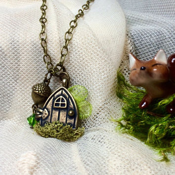 Fairy Door, Fairy Door Jewelry, Hobbit Door, Fairy Wings, Wings, Forest, Fantasy, Moss Jewelry, Swavorski, Acorn, Green Swavorski, Brass