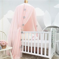 White Pink Gray Khaqi Princess Kids Crib Canopy, Nursery Canopy Bed Canopies, Play Room Nursery Playroom Decor Hanging Play Tent