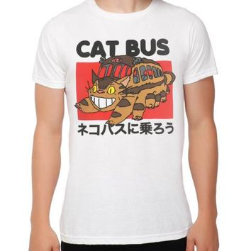 Hillbilly Studio Ghibli Neighbour Totoro Ride The Cat Bus Japanese Anime Unisex T-Shirt White Casual T shirts summer 2017 Tops