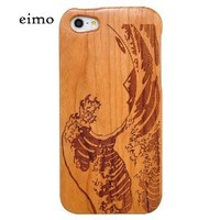 Handmade Natural Wood Wooden Hard bamboo Case Cover for iPhone 5 with free screen protector(Cherry-sea wave)