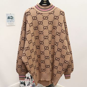 Gucci wild thickening round neck large size loose double g letter sweater Khaki