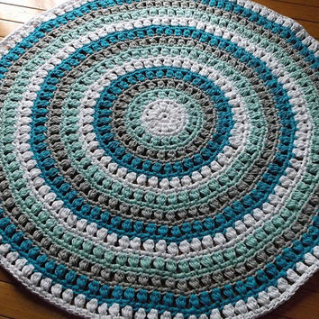 Puff Stitch Crochet Rug in White, Grey, Turquoise and Robins Egg Blue Cotton 36""