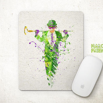Riddler Watercolor Art, Batman Mousepad, Mouse Pad, Office Deco, Holiday Gifts, Art Print, Desk Decor, Batman Accessories