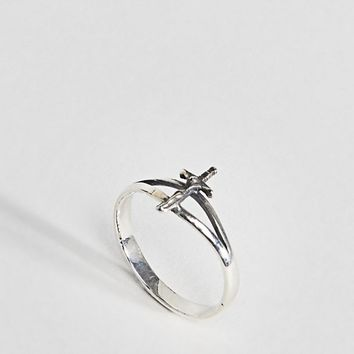 ASOS DESIGN sterling silver vintage style cross ring at asos.com