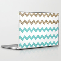 Blue and Gold Glitter Chevrons Laptop & iPad Skin by PrintableWisdom | Society6