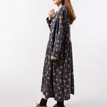 2017 New Style Autumn Winter Women Dresses Vintage Print Casual Long Sleeve Cotton Linen Maxi Dress Swing Floral Big Size Dress