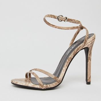 Boohoo strappy heeled sandal in snake at asos.com