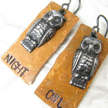 Night Owl Copper and Arte Metal earrings Hand stamped by CobwebCorner