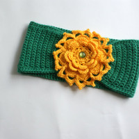 Crochet baby headband 3-6 month, green headband, yellow flower headband, baby headwrap crochet