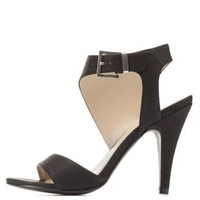 Black Asymmetrical Single Sole Dress Sandals by Charlotte Russe
