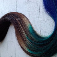 "Peacock Ombre, Ombre Hair Extensions, Black with a quick fade to brown, green and blue, 7 Pieces,22""/Customize your Base."