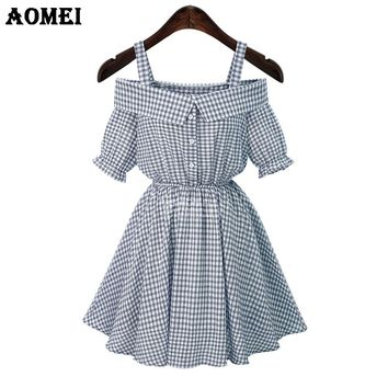 Summer Casual Plaid Knee Length Dresses for Women Fashion Lolita Girls Gingham Retro Robes Gowns Clothing Wear Dresses