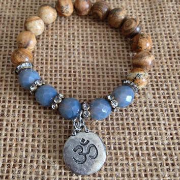 Beaded Ohm Bracelet, Earth Tone Jasper, Czech Beads, Vintage Rhinestone Beads