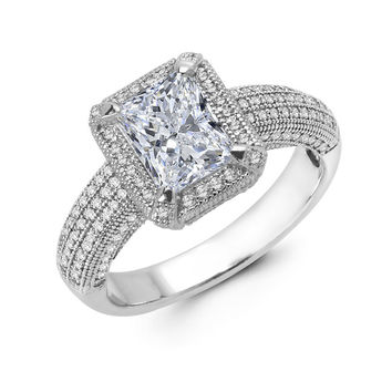 Sterling silver bonded with platinum lab grown emerald cut wedding ring and simulated diamonds by swarovski.  ZR-0226