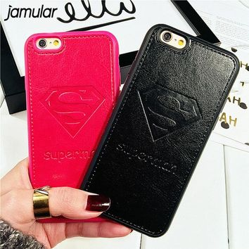 JAMULAR Superman Mickey Mouse Soft Silicone PU Leather Case For iPhone X 7 8 Plus XR Back Cover for iPhone 6 6s XS MAX Fundas