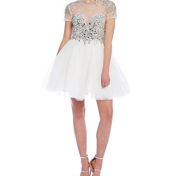 Glamour by Terani Couture Short Sleeve Illusion Party Dress | Dillards