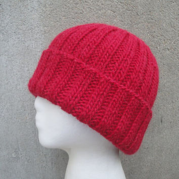 Red Watch Cap, Mens Beanie Hat, Hand Knit Llama/Wool, Warm Winter, Man Guys Teens